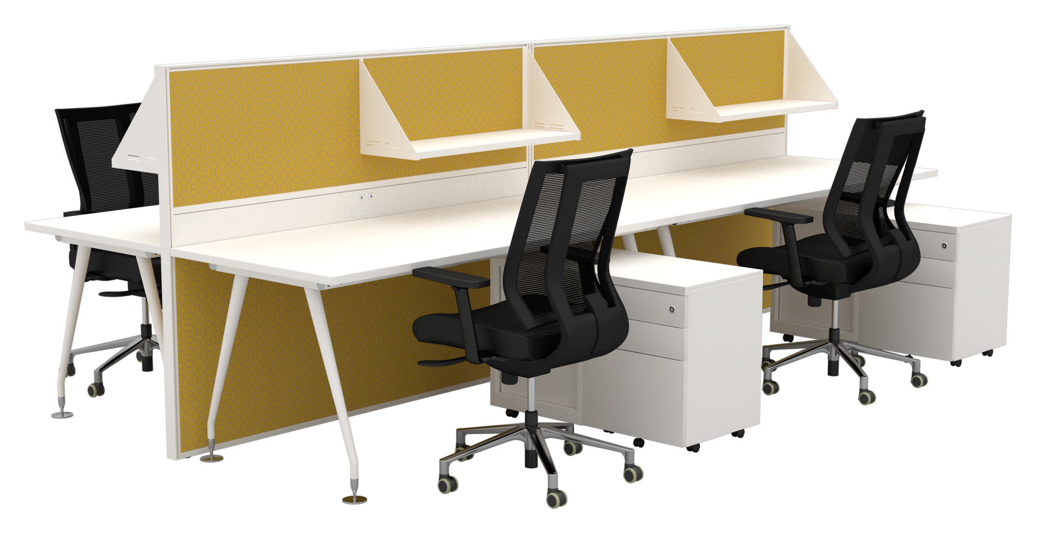 compass desking with metron mid duct screens omega caddy units